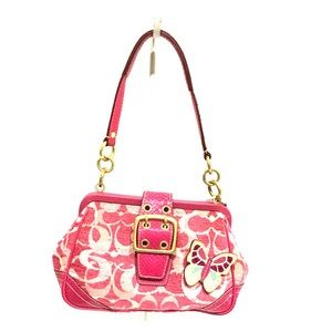 Coach pink snakes skin and chenille bag/purse